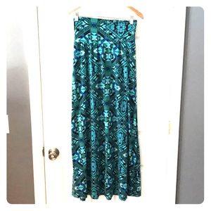 Blue and green kaleidoscope maxi skirt